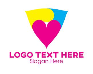Cyan - Heart Triangle logo design