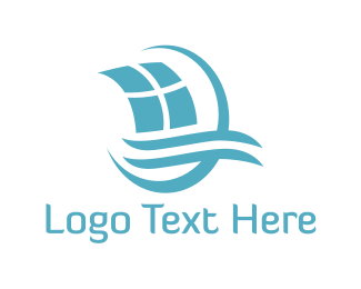 Yacht - Blue Sailing Boat logo design