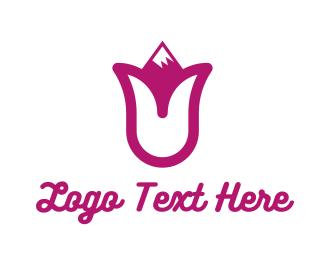 Decorative - Pink Tulip Mountain logo design