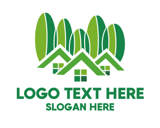 Lodge - Green Houses  logo design