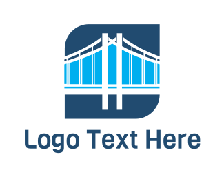 Tourist - Blue Bridge Structure logo design