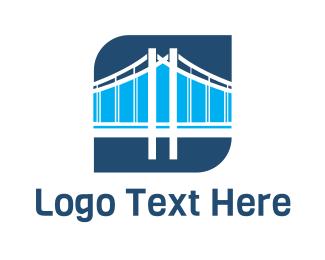 California - Blue Bridge Structure logo design