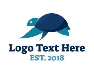 Island - Blue Sea Turtle logo design