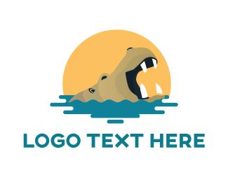 Roar - Hippo Water Sun logo design