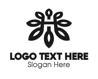 Botanist - Black Flower H logo design