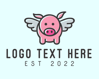 Pork - Cute Flying Pig logo design