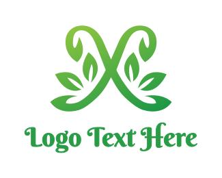 Cursive - Leafy Cursive X  logo design