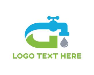 Sink - Abstract Blue Green Faucet logo design