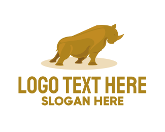 Powerful - Gold Rhino logo design