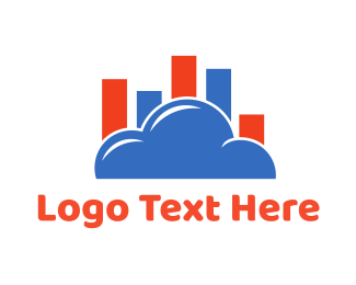 Bar Chart - Cloud Chart logo design