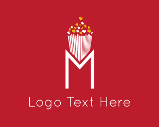 Hollywood - Movie Popcorn M logo design