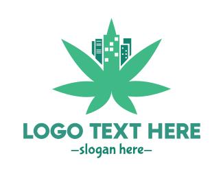 Cannabis Oil - Cannabis City Leaf logo design