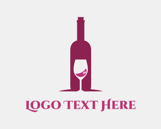Event Planning - Wine Bottle & Glass logo design