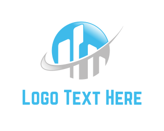 Communication - Buildings & Globe logo design