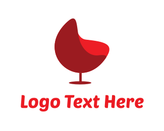 Rounded - Red Wine Chair logo design