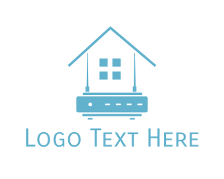 Router - Blue Home Router logo design