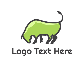 Oxen - Abstract Green Bull logo design