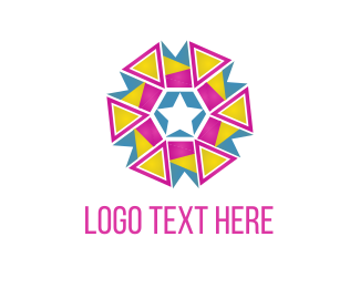 Firework - Triangle Flower logo design