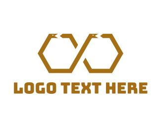 Brown - Hexagonal Snake logo design