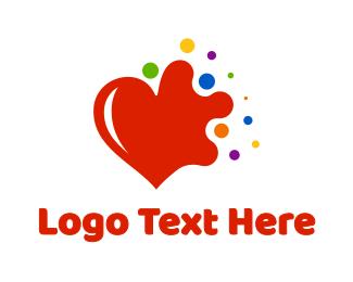 Gay - Colorful Splash Heart logo design