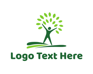 Recycling - Green Tree Man logo design