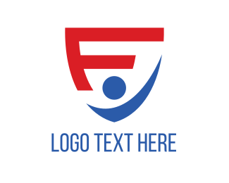 Human - Shield Letter F logo design
