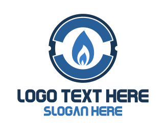 Combustion - Blue Gas Flame logo design