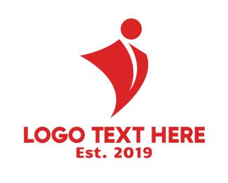 Attorney - Red Shield Person logo design