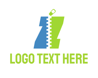 Zip - Blue & Green Zipper logo design