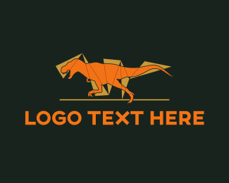 Fossil - Orange Dinosaur logo design