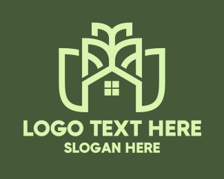 Land - Green Flower House Outline logo design