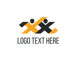 People - Letter X Couple logo design