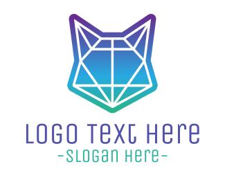 Abstract Neon Fox Logo Maker