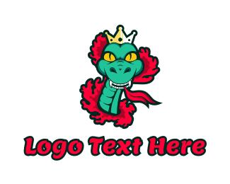 Queen - Green Snake Queen logo design