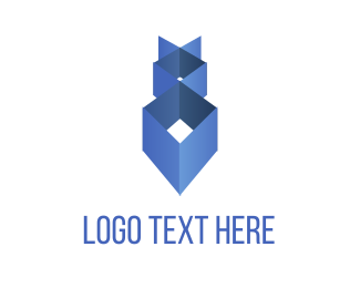 Vertex - Blue Geometry logo design