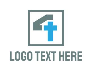 Monogram - Monogram Cross Number 4 logo design