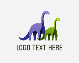History - Two Dinosaurs logo design