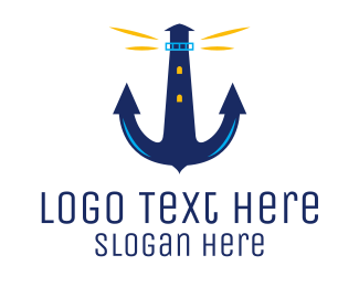 Marine Corp - Anchor Lighthouse logo design