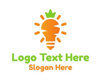 Bulb - Carrot Light logo design