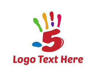 Number 5 - Colorful High Five logo design