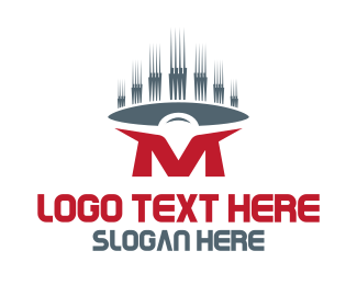 Wave - Red Letter M logo design