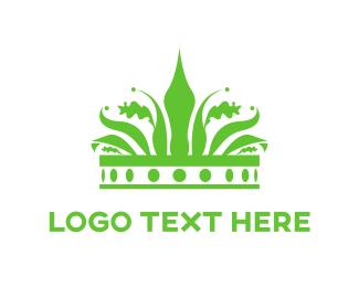 Kingdom - Green Crown logo design