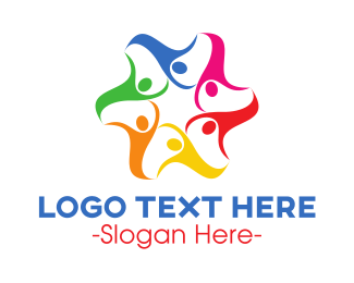 Crowd - Colorful Human Star logo design