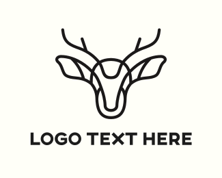 Antlers - Abstract Deer logo design