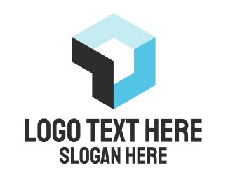 Geometrical - Blue Cube logo design