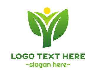 Green And Yellow - Sun Corn Leaf logo design