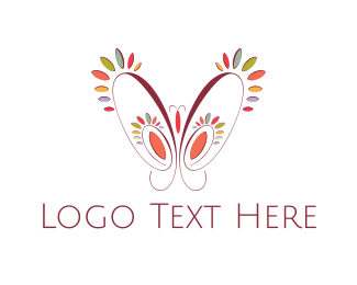 Dragonfly - Floral Butterfly logo design