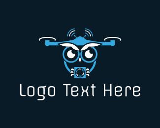 Drone - Owl Drone logo design