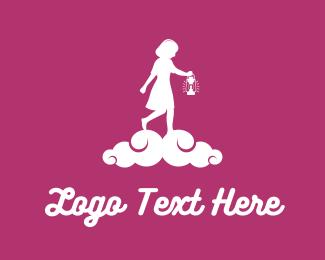 Lantern - Girl & Lantern logo design