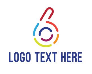 Number 6 - Colorful Six Outline logo design